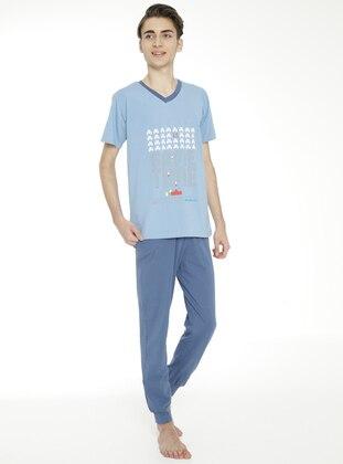 Multi - Crew neck - Unlined - Indigo - Blue - Boys` Suit