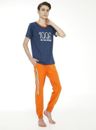 Multi - Crew neck - Unlined - Indigo - Orange - Boys` Suit