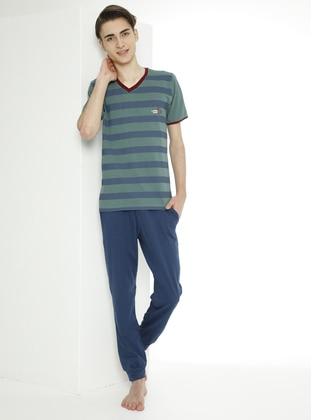 Multi - Crew neck - Unlined - Indigo - Green - Boys` Suit