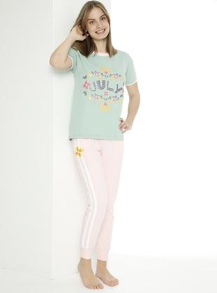 Multi - Crew neck - Unlined - Pink - Green - Girl Suit - Larice Kids