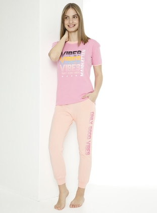 Multi - Crew neck - Unlined - Pink - Powder - Girl Suit - Larice Kids