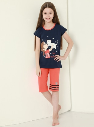 Multi - Crew neck - Unlined - Blue - Coral - Girls` Suit