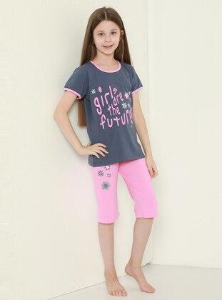 Multi - Crew neck - Unlined - Pink - Girls` Leggings - Larice Kids