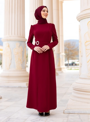 Maroon - Fully Lined - Crew neck - Modest Evening Dress