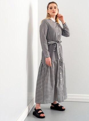Black - Gingham - Round Collar - Unlined - Modest Dress