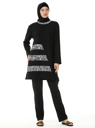 Black - Multi - Unlined - Full Coverage Swimsuit Burkini