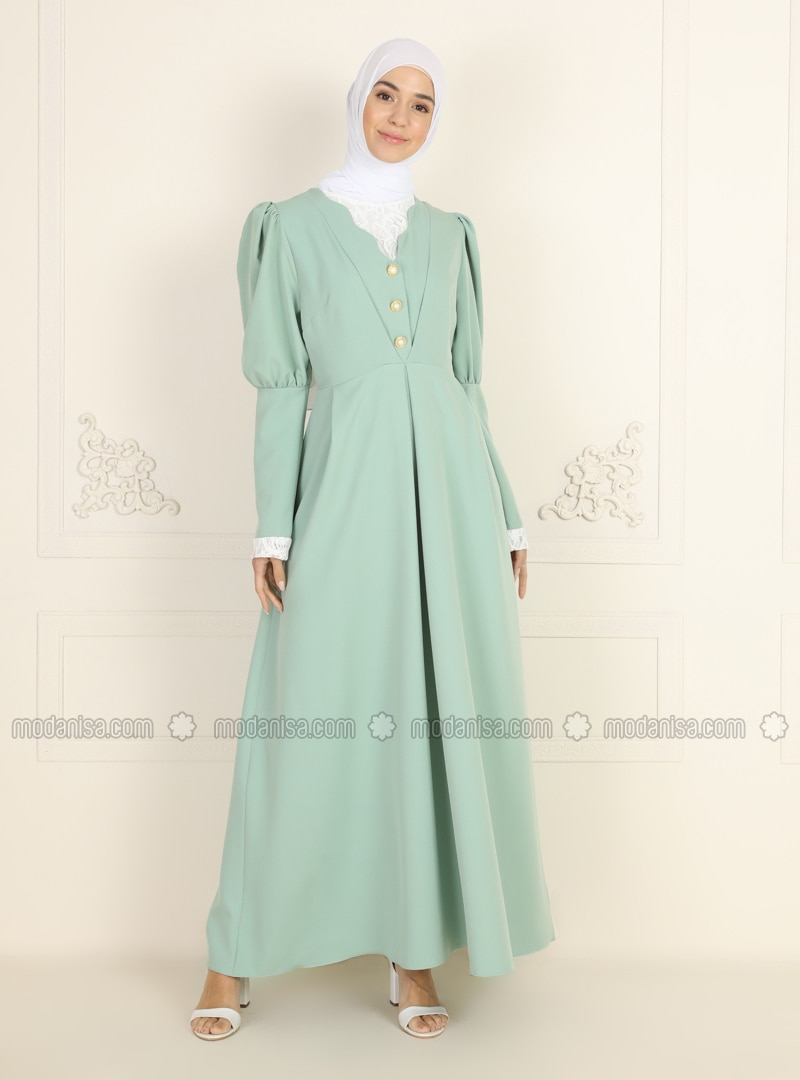 Fully Lined - Green Almond - Crew neck - Evening Dresses