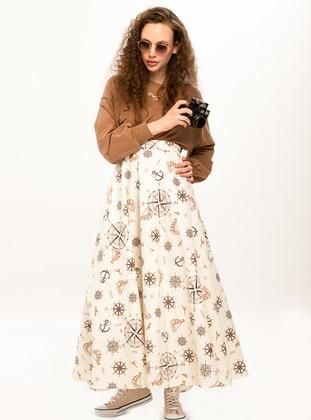 Brown - Multi - Unlined - Skirt