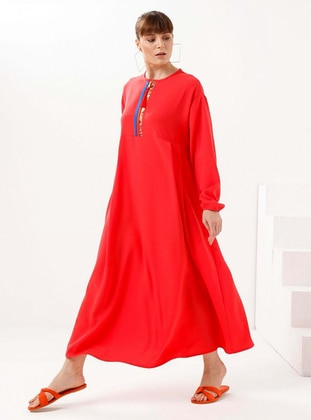 Coral - Crew neck - Unlined - Modest Dress