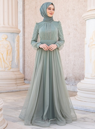 Green Almond - Fully Lined - Crew neck - Modest Evening Dress
