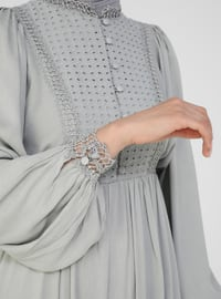 Gray - Crew neck - Half Lined - Viscose - Modest Dress