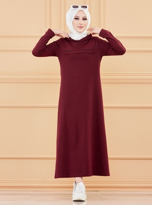 Maroon - Unlined - Modest Dress