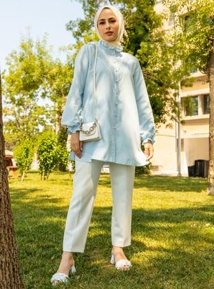 Baby Blue - Button Collar - Cotton - Tunic