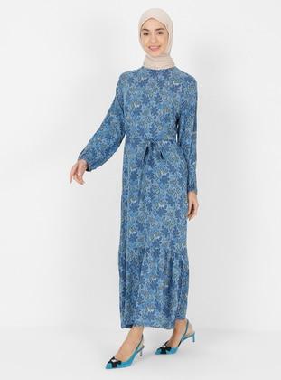 Indigo - Multi - Crew neck - Unlined - Modest Dress