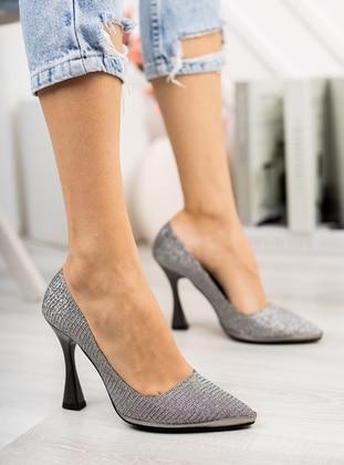 Silver - High Heel - Evening Shoes - Ayakkabı Havuzu