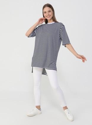 Stripe - White - Navy Blue - T-Shirt - Benin
