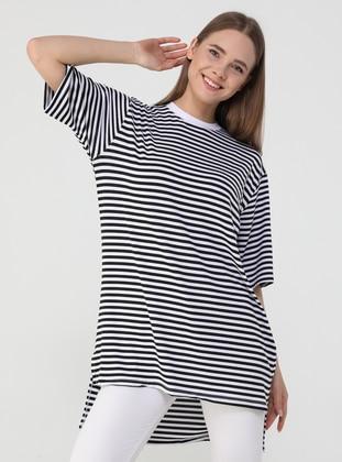 Stripe - White - Black - T-Shirt - Benin