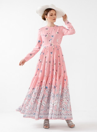 Powder - Floral - Crew neck - Fully Lined - Modest Dress