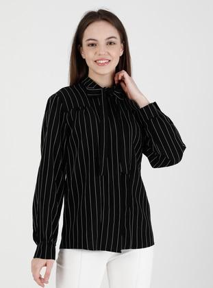 Black - Stripe - Point Collar - Blouses