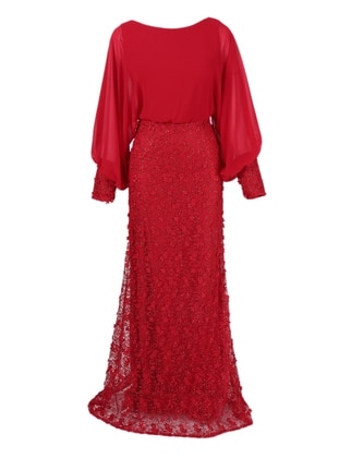 Red - Fully Lined - Crew neck - Modest Evening Dress