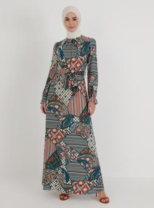 Petrol - Multi - Crew neck - Unlined - Modest Dress