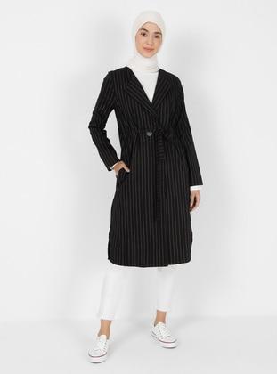 Unlined - Stripe - Black - Shawl Collar - Kimono