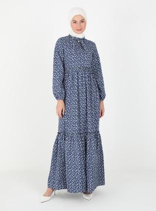 Navy Blue - Floral - Crew neck - Unlined - Cotton - Modest Dress