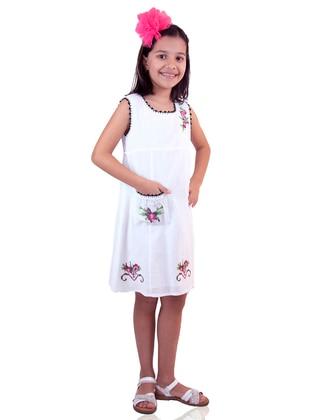 Crew neck - White - Girls` Dress