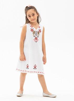 Multi - V neck Collar - White - Girls` Dress