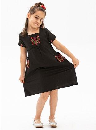 Sweatheart Neckline - Black - Girls` Dress
