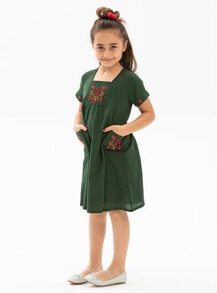 Sweatheart Neckline - Green - Girls` Dress