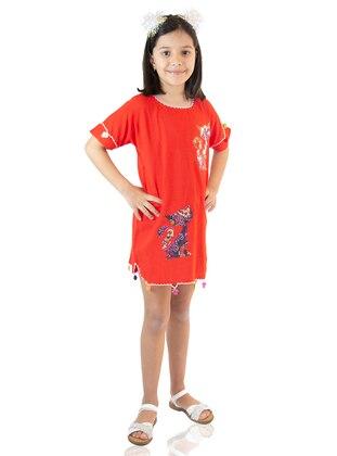Multi - Crew neck - Red - Girls` Dress