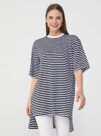 Stripe - White - Navy Blue - T-Shirt