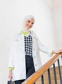 White - Unlined - Point Collar - Denim - Jacket