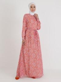 Pink - Multi - Crew neck - Unlined - Modest Dress