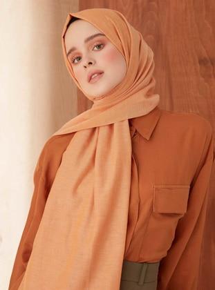 Orange - Plain - Cotton - Shawl