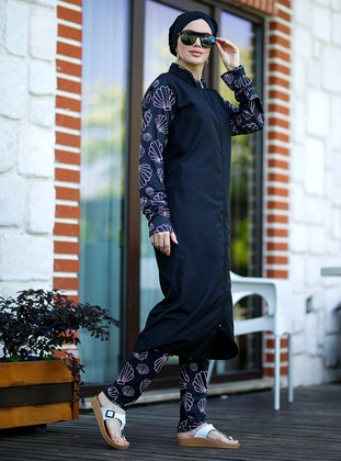 Black - Multi - Unlined - Full Coverage Swimsuit Burkini