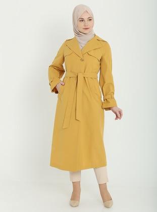 Mustard - Unlined - V neck Collar - Trench Coat