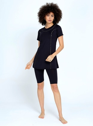 Black - Unlined - Half Coverage Swimsuit