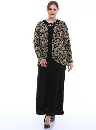 Gold - Black - Multi - Unlined - Crew neck - Modest Plus Size Evening Dress