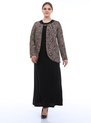 Dusty Rose - Red - Multi - Unlined - Crew neck - Modest Plus Size Evening Dress