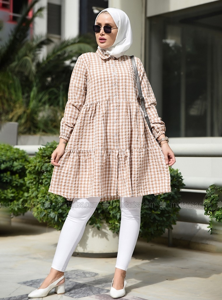Mink - Checkered - Point Collar - Tunic