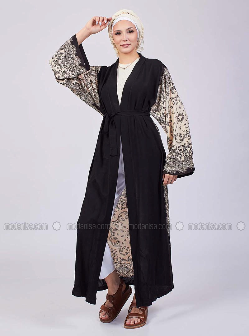 Unlined - Multi - Black - Kimono