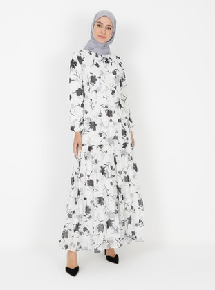 White - Ecru - Floral - Crew neck - Fully Lined - Modest Dress