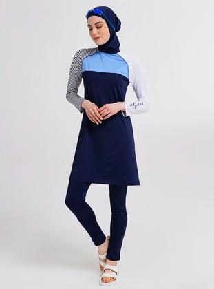 Navy Blue - Multi - Half Coverage Swimsuit - Alfasa