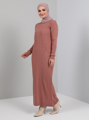Dusty Rose - Unlined - Crew neck - Knit Dresses