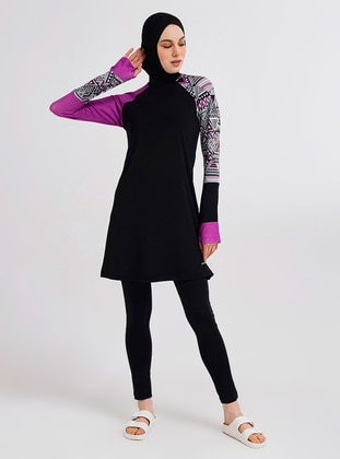 Purple - Multi - Half Coverage Swimsuit