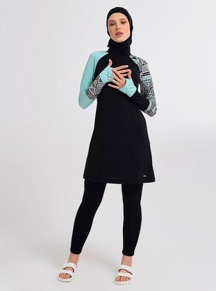 Green - Multi - Half Coverage Swimsuit - Alfasa