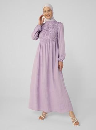 Lilac - Crew neck - Unlined - Viscose - Modest Dress