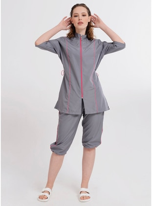 Gray - Fully Lined - Half Coverage Swimsuit